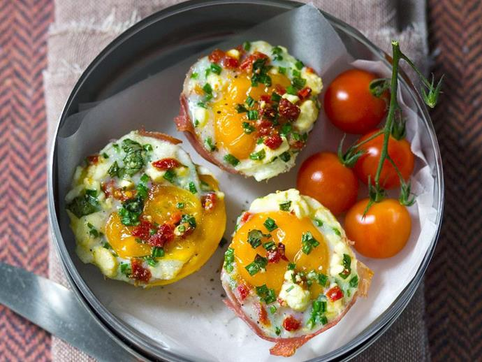 "**[Prosciutto and feta baked eggs](https://www.womensweeklyfood.com.au/recipes/prosciutto-and-feta-baked-eggs-5765|target=""_blank"")**  Give cereal a miss and try these prosciutto and feta baked eggs instead!"