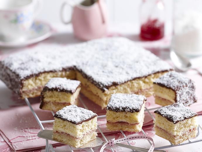 "**[Choc-raspberry lamington slice](https://www.womensweeklyfood.com.au/recipes/choc-raspberry-lamington-slice-13418|target=""_blank"")**"