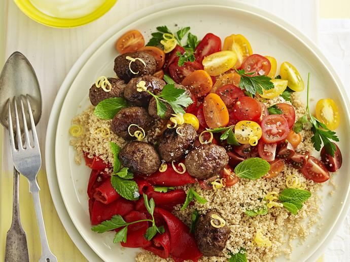 "**[Sticky pomegranate koftas with herb couscous](https://www.womensweeklyfood.com.au/recipes/sticky-pomegranate-koftas-with-herb-couscous-5606|target=""_blank"")**"