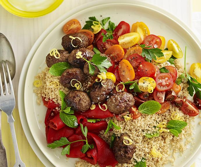 sticky pomegranate koftas     with herb couscous