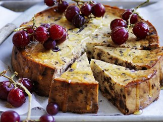 ricotta and chocolate cheesecake with grapes