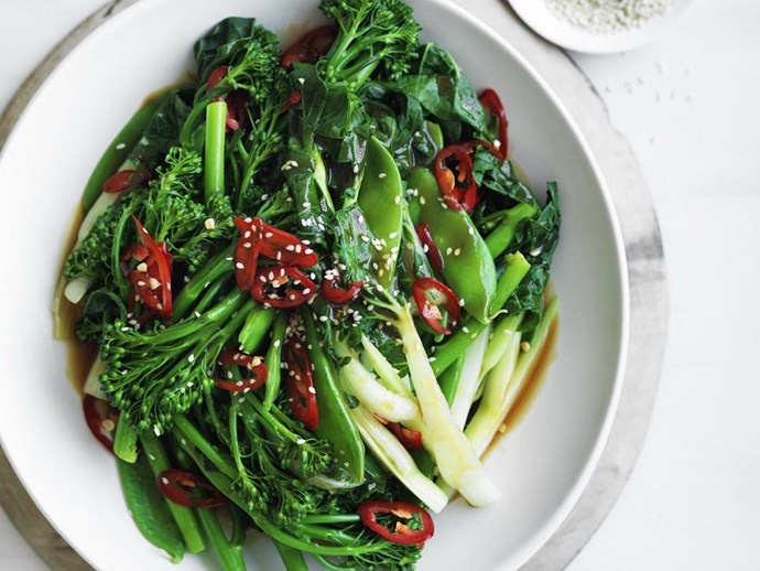 steamed asian greens with char siu sauce