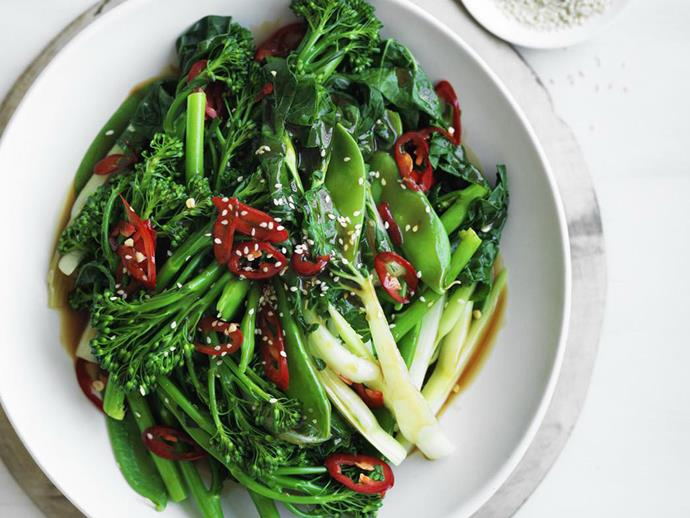 """**[Steamed asian greens with char siu sauce](https://www.womensweeklyfood.com.au/recipes/steamed-asian-greens-with-char-siu-sauce-13484