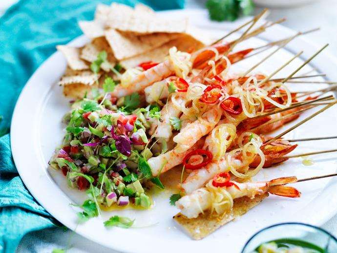 "**Warm spiced prawns with avocado salsa** <br><br> This light, fresh and flavoursome dish is perfect as a starter or finger food for dinner parties. <br><br> [**Read the full recipe here**](https://www.womensweeklyfood.com.au/recipes/warm-spiced-prawns-with-avocado-salsa-13502|target=""_blank"")"
