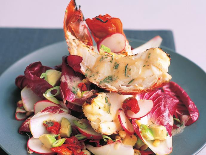 """Treat your guests to this indulgent [char-grilled lobster tail salad](https://www.womensweeklyfood.com.au/recipes/char-grilled-lobster-tail-salad-13517 target=""""_blank"""")."""