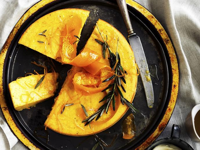 """**[Whole orange semolina cake with rosemary syrup](https://www.womensweeklyfood.com.au/recipes/whole-orange-semolina-cake-with-rosemary-syrup-13519