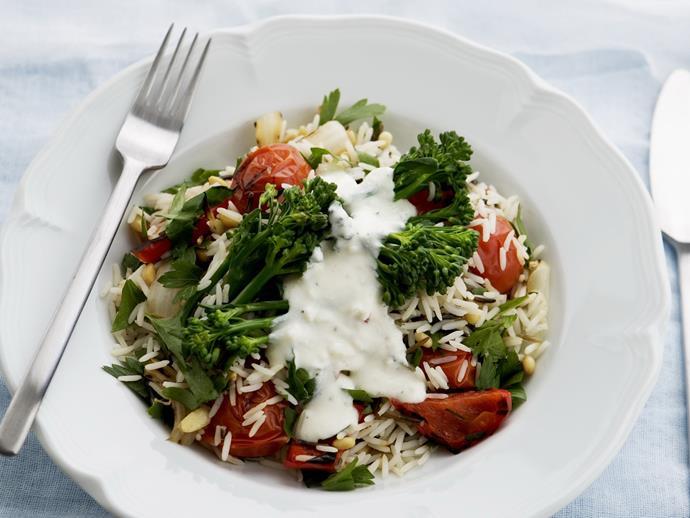 "**[Greek-style wild rice salad](https://www.womensweeklyfood.com.au/recipes/greek-style-wild-rice-salad-13525|target=""_blank"")**"