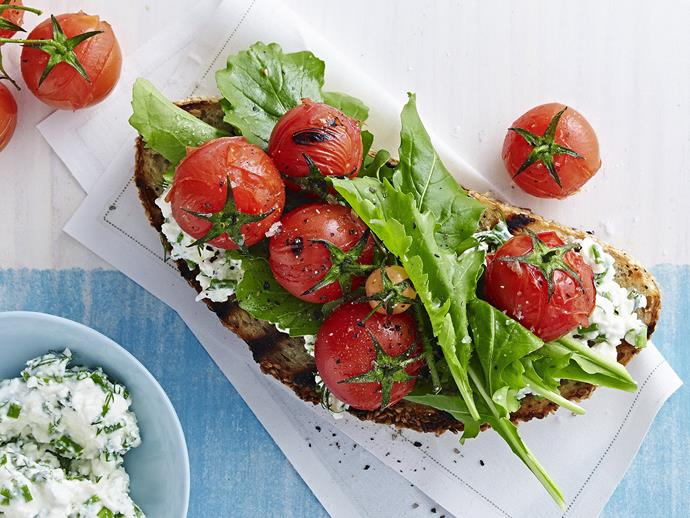 """This [tomato and rocket bruschetta](https://www.womensweeklyfood.com.au/recipes/tomato-and-rocket-bruschetta-15430 target=""""_blank"""") would make a lovely fresh starter to your next summer barbecue. For a variation, replace the dill with basil and add a little garlic."""