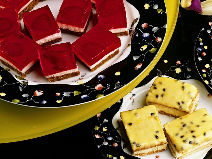 """We used honey snap biscuits and freshly made strawberry jelly for this [delectable jelly slice](https://www.womensweeklyfood.com.au/recipes/strawberry-jelly-slice-13549