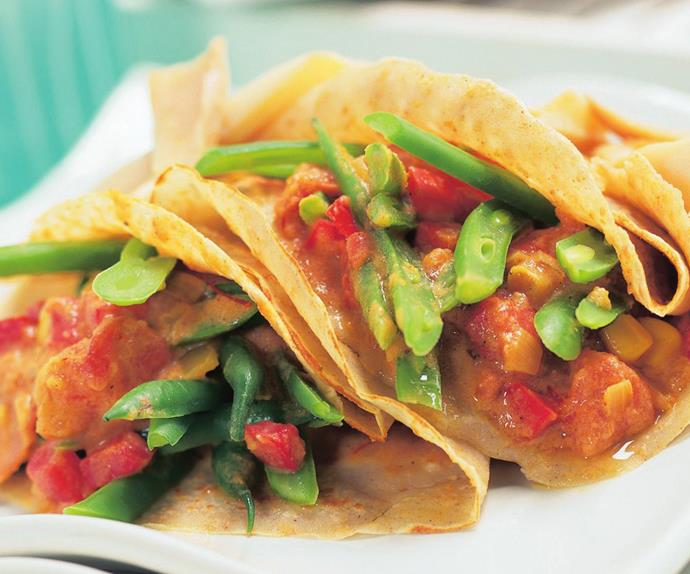 buckwheat crepes with spicy green bean filling