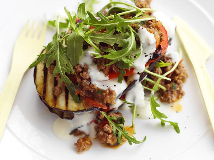 "Like a deconstructed version of the classic Greek dish, these [moussaka stacks](https://www.womensweeklyfood.com.au/recipes/moussaka-stack-with-lemon-yoghurt-dressing-13560|target=""_blank"") with lemon-yoghurt dressing are lighter than the original, and just as tasty."