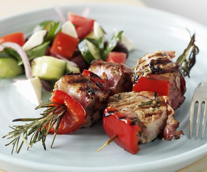 Pork fillet and pancetta kebabs