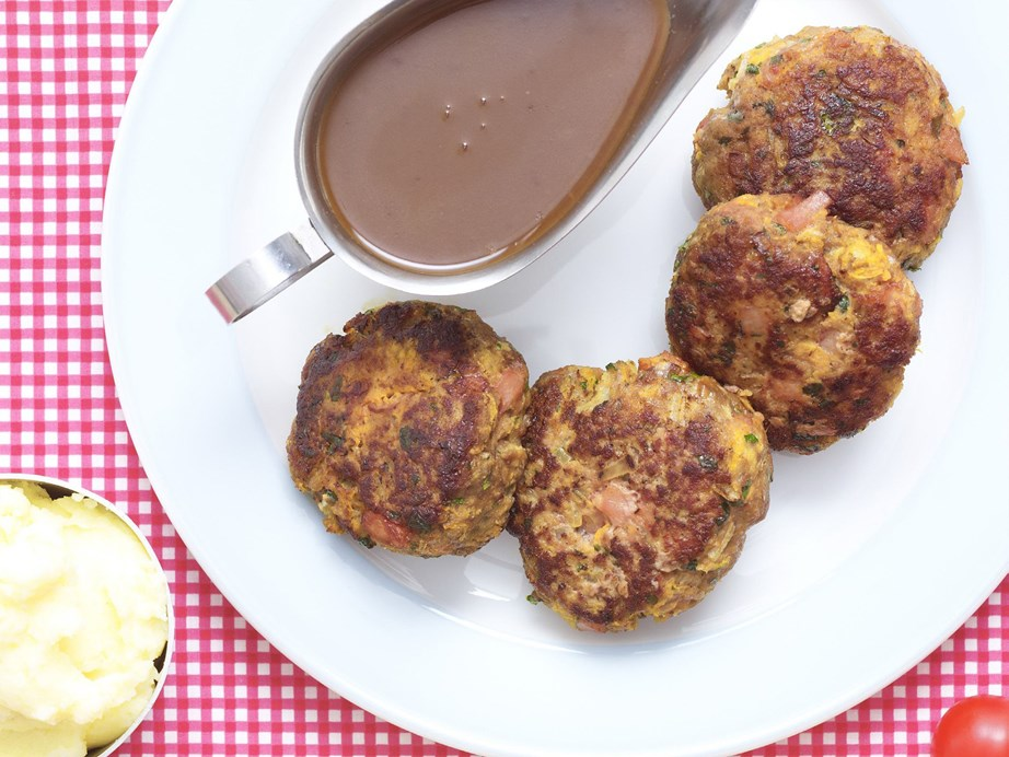 "**[Old-fashioned rissoles with gravy](https://www.womensweeklyfood.com.au/recipes/old-fashioned-rissoles-with-gravy-13579|target=""_blank"")**"