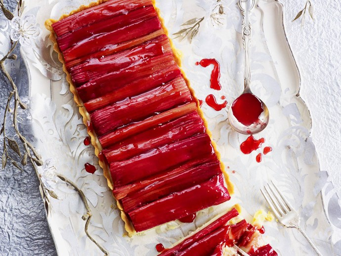 roasted rhubarb custard tart