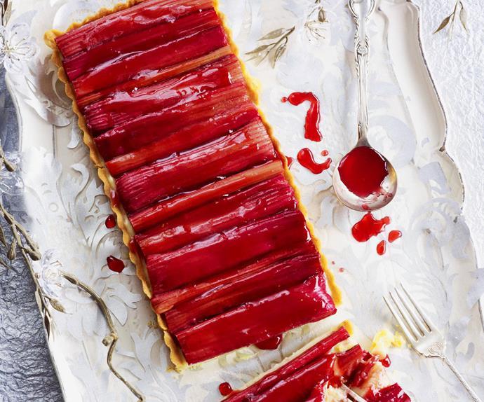 roasted rhubarb custard tart
