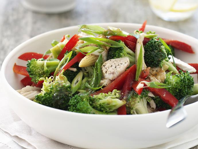 "**[Festive chicken salad](https://www.womensweeklyfood.com.au/recipes/festive-chicken-salad-13631|target=""_blank"")**"