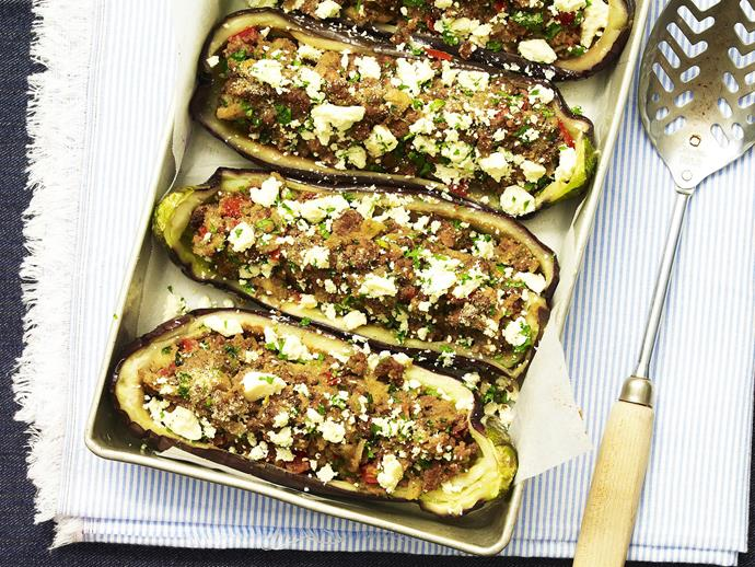 "These succulent, tasty and filling [stuffed eggplant](http://www.womensweeklyfood.com.au/recipes/stuffed-eggplants-13638|target=""_blank"") halves are a great way of using up leftover bolognese sauce."