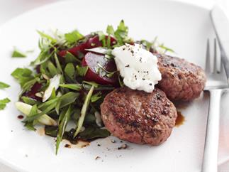 beef rissoles with beetroot salad