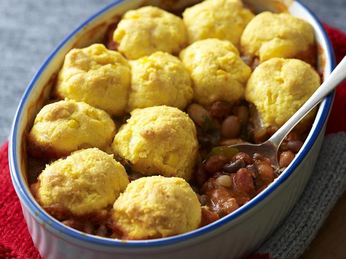 "**[Four-bean chilli pie with cornbread crust](https://www.womensweeklyfood.com.au/recipes/four-bean-chilli-pie-with-cornbread-crust-13665|target=""_blank"")**"