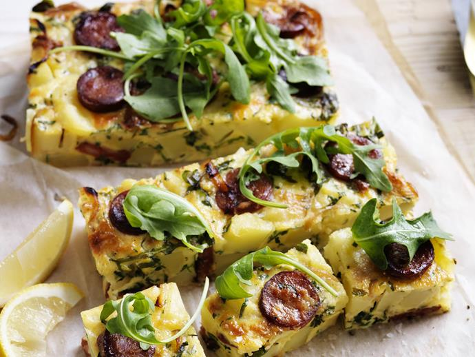"**[Chorizo, potato and herb frittata](https://www.womensweeklyfood.com.au/recipes/chorizo-potato-and-herb-frittata-13700|target=""_blank"")**"