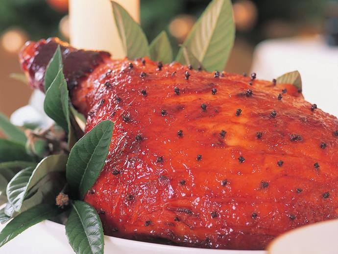 "**[Honey ginger-glazed ham](https://www.womensweeklyfood.com.au/recipes/honey-ginger-glazed-ham-13049|target=""_blank"")**"