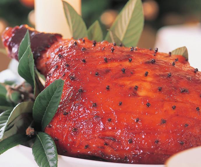 Honey ginger-glazed ham