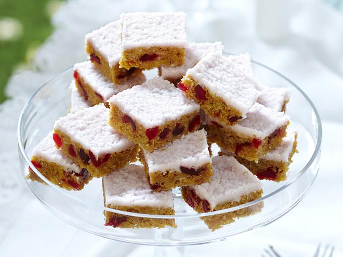 "**[Cherry squares with coconut ice frosting](https://www.womensweeklyfood.com.au/recipes/cherry-squares-with-coconut-ice-frosting-13050|target=""_blank"")**"