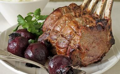 Beef rib roast with potato purée and roasted beetroot