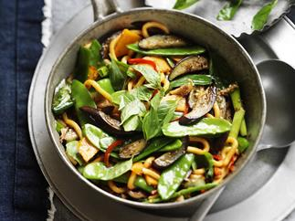 pumpkin and eggplant with chilli and thai basil