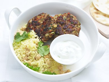 Barbecued moroccan lamb patties