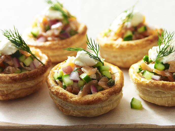 "**[Smoked salmon vol au vents](https://www.womensweeklyfood.com.au/recipes/smoked-salmon-vol-au-vents-13122|target=""_blank"")**  Crisp, golden pastry cases filled with a crunchy, piquant salmon filling and topped with smooth sour cream make a gorgeous platter for a cocktail party."