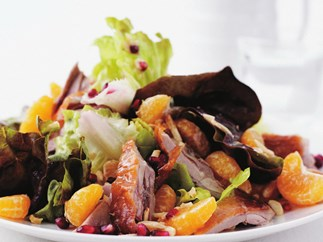 duck salad with mandarin and pomegranate