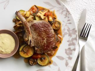 Veal cutlets with vegetable hot pot and soy mayonnaise