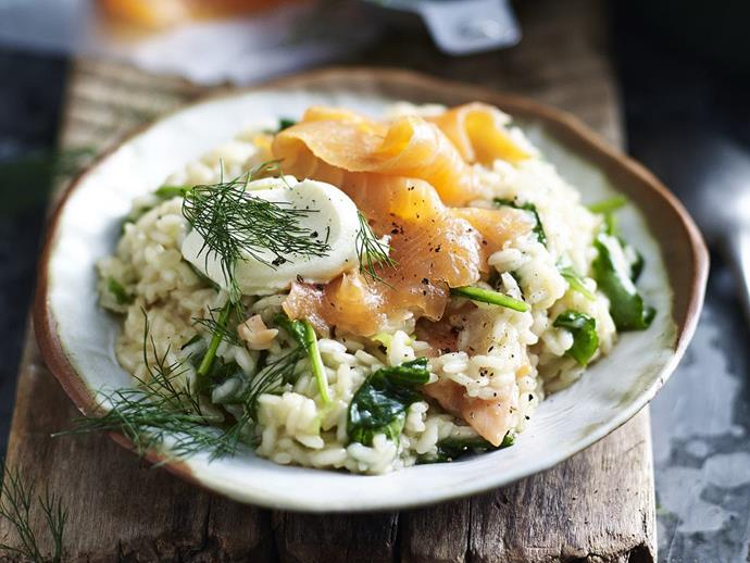 "For something a little different, give this [smoked salmon, spinach & mascarpone risotto](https://www.womensweeklyfood.com.au/recipes/smoked-salmon-spinach-and-mascarpone-risotto-5366|target=""_blank"") a whirl."