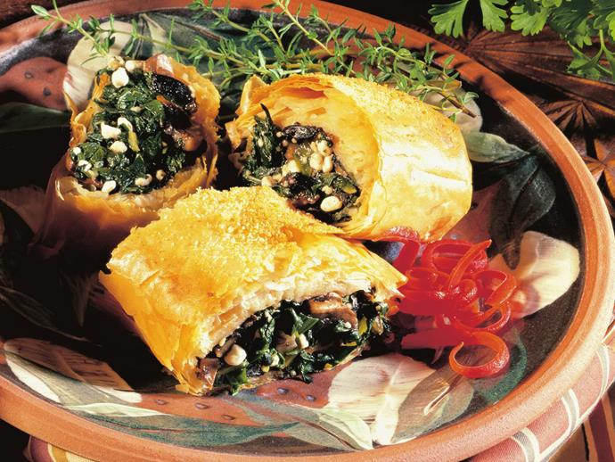 "**[Mushroom silverbeet strudel](https://www.womensweeklyfood.com.au/recipes/mushroom-silverbeet-strudel-13209|target=""_blank"")**  Flaky golden filo pastry stuffed with silverbeet, mushrooms and cheese makes for a savoury lunch or light dinner."