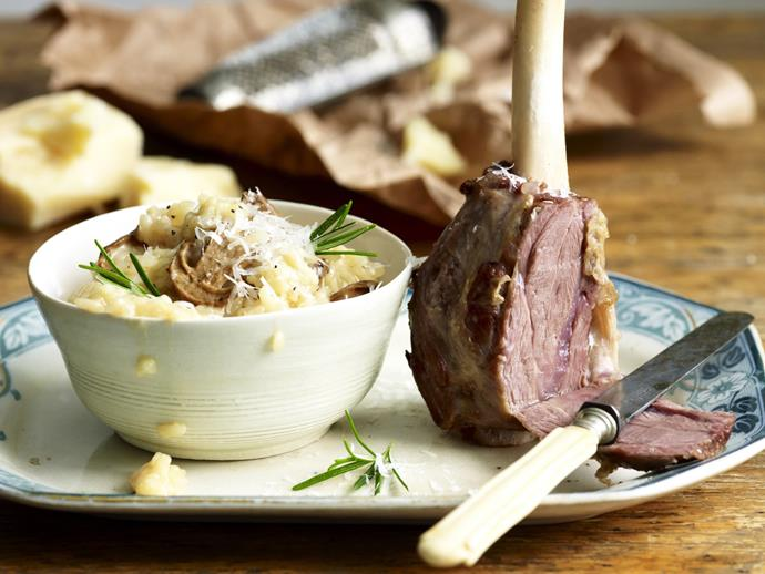 "**[Braised lamb shanks with mushroom risotto](https://www.womensweeklyfood.com.au/recipes/braised-lamb-shanks-with-mushroom-risotto-13232|target=""_blank"")**"