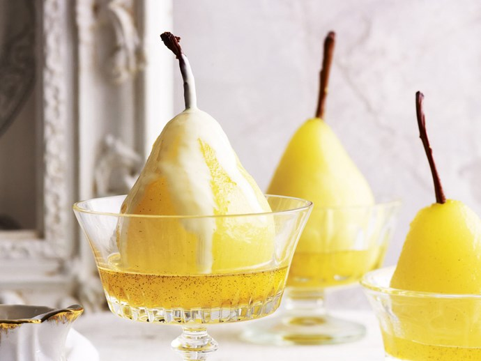 Champagne and rosewater poached pears