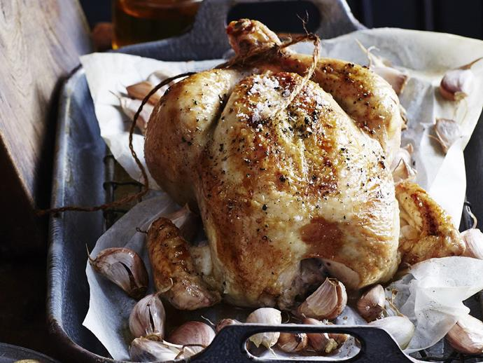 "**[Roast chicken with 40 cloves of garlic](https://www.womensweeklyfood.com.au/recipes/roast-chicken-with-40-cloves-of-garlic-13258|target=""_blank"")**  Don't be put off by the amount of garlic in this recipe. It infuses the chicken with a wonderful, yet not overpowering flavour. You can always discard it after cooking, if you don't want the full garlic experience!"