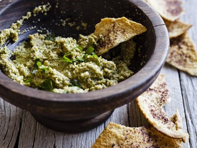 Green olive tapenade with sumac pitta crisps