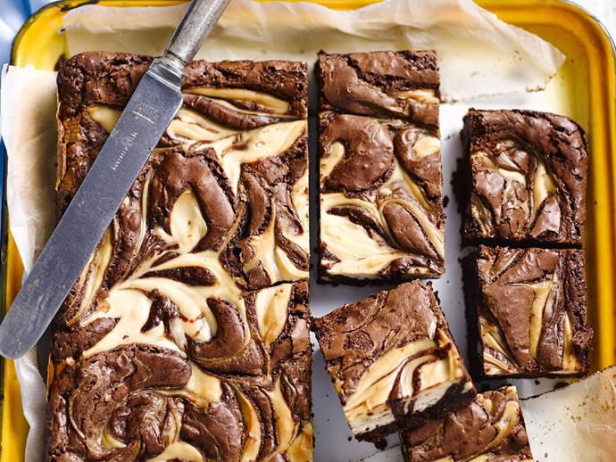 "**[Gluten-free chocolate cheesecake brownie](https://www.womensweeklyfood.com.au/recipes/gluten-free-chocolate-cheesecake-brownie-13267|target=""_blank"")**  Rich and creamy cheesecake slice with chocolatey swirls makes an indulgent mid-afternoon treat."