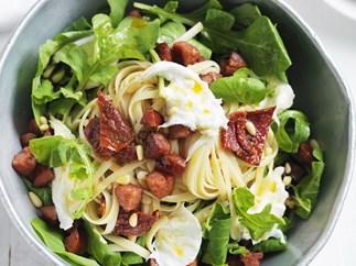 chorizo, tomato and rocket pasta salad