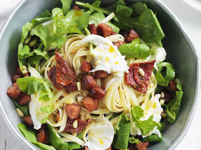 "**[Chorizo, tomato and rocket pasta salad](https://www.womensweeklyfood.com.au/recipes/chorizo-tomato-and-rocket-pasta-salad-13281|target=""_blank"")**"