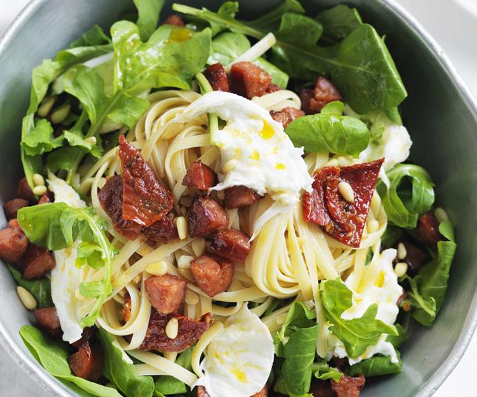 chorizo, tomato and rocket pasta salad