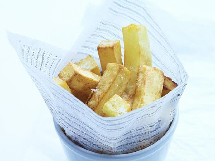 """**[Hand-cut chips](https://www.womensweeklyfood.com.au/recipes/hand-cut-chips-13283