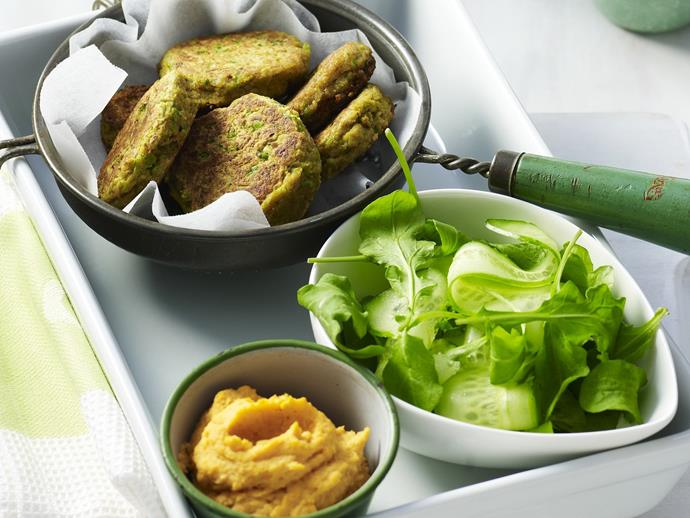 """**[Falafel with kumara hummus](https://www.womensweeklyfood.com.au/recipes/falafel-with-kumara-hummus-13285