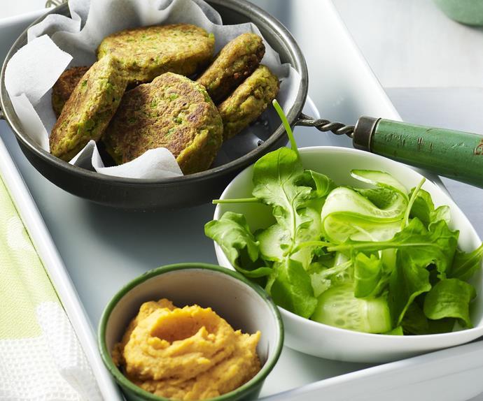 felafel with kumara hummus