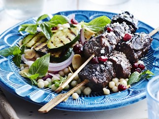 LAMB SKEWERS WITH ZUCCHINI & MOGHRABIEH SALAD