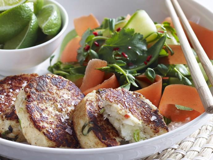 "**[Asian-style fish cakes with cucumber and carrot salad](https://www.womensweeklyfood.com.au/recipes/asian-style-fish-cakes-with-cucumber-and-carrot-salad-13303|target=""_blank"")**  With the stunning, fragrant flavours of ginger, chilli, coriander and lime, these juicy Asian fish cakes make a delicious and light meal."