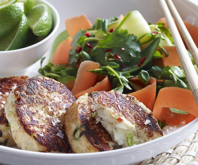 asian-style fish cakes with cucumber and carrot salad