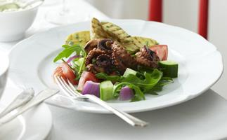 BARBECUED BABY OCTOPUS WITH GREEK-STYLE SALAD